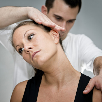 Chiropractic treatment of female's neck